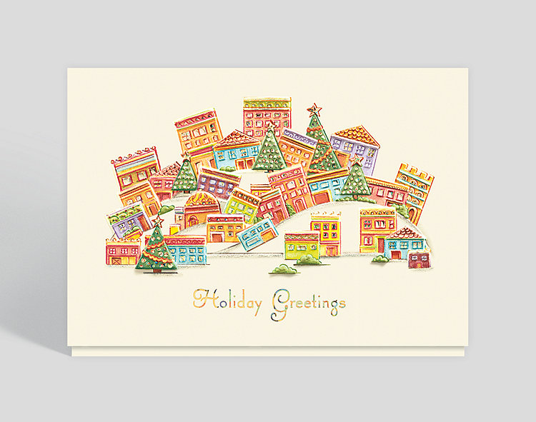 Whimsical City Holiday Card - Business Christmas Cards