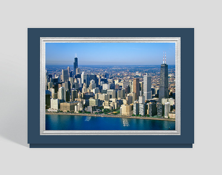 Christmas In Chicago Skyline.Chicago Skyline Christmas Card 300831 Business Christmas Cards