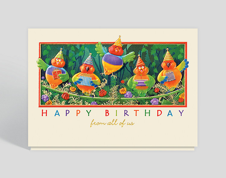 Jungle Birds Birthday Card