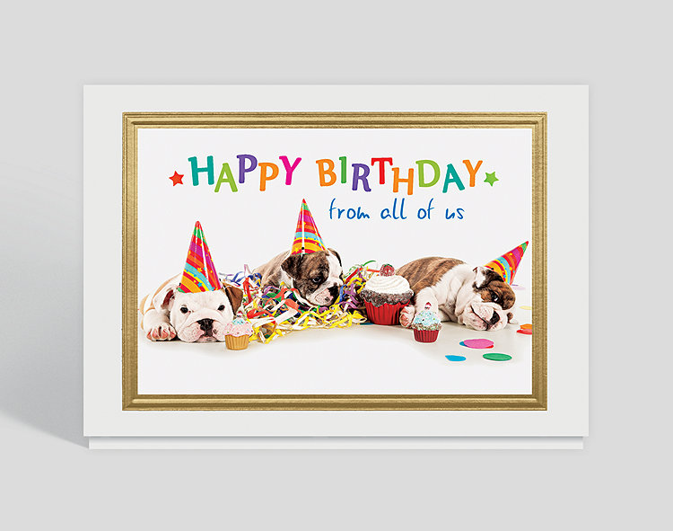Party Time Pups Birthday Card