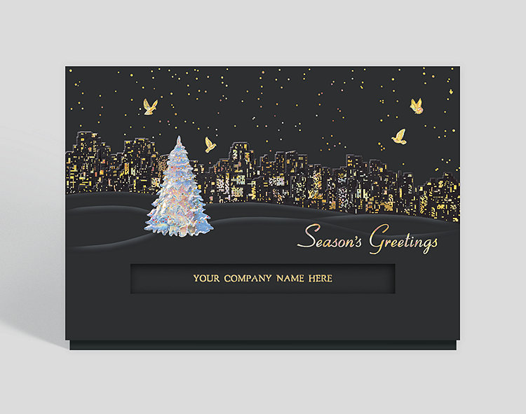 Personalized christmas cards custom christmas cards city lights holiday card reheart Images