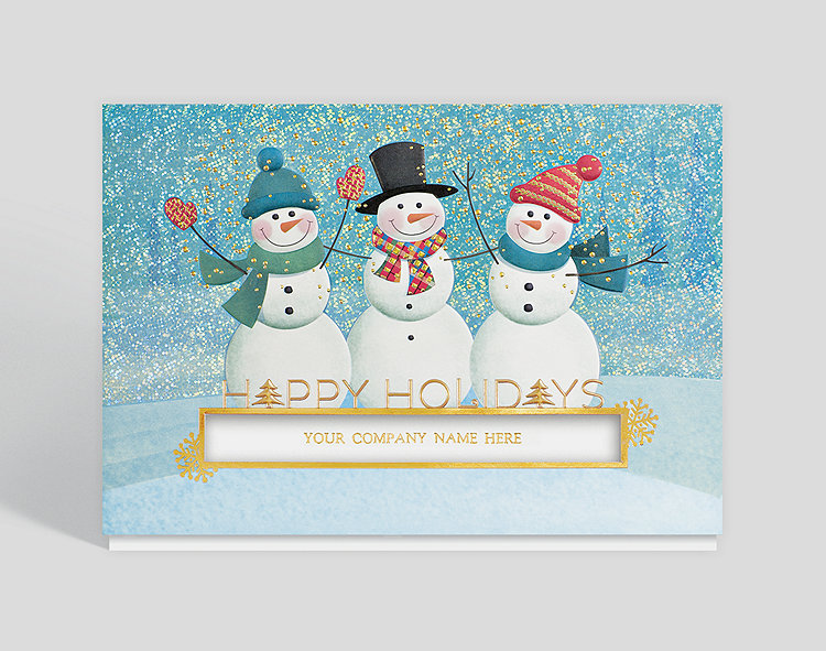 Die cut holiday cards business christmas cards three jolly snowmen holiday card m4hsunfo Images