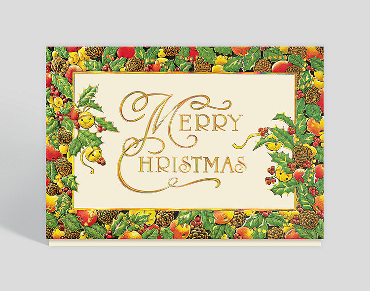 Christmas Card Border.Bountiful Border Christmas Card 303742 Business Christmas Cards