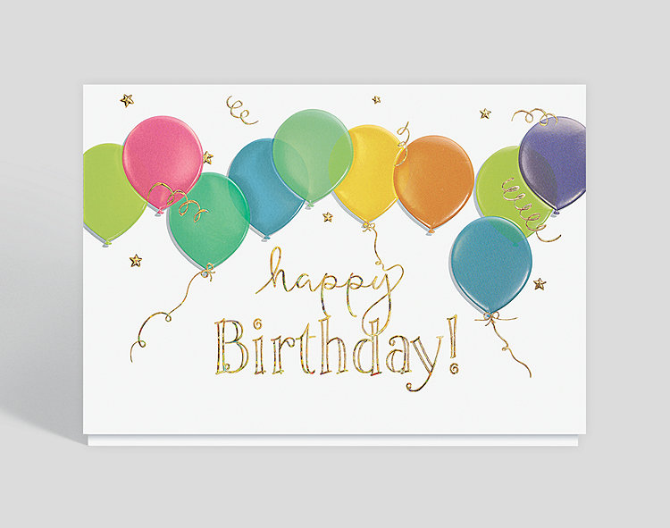 Floating Balloons Birthday Card Click To View Larger