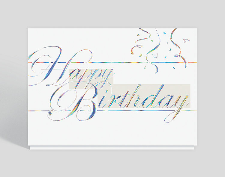 Silvery Script Birthday Card, 303965 - Business Christmas Cards