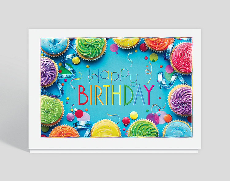 Colorful Cupcakes Birthday Card Click To View Larger