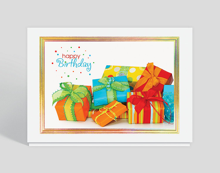 Vibrant Wrappings Birthday Card