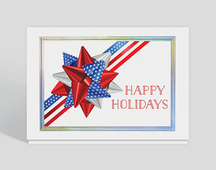 The Gallery Collection Christmas Cards.Patriotic Bow Holiday Card 305095 Business Christmas Cards