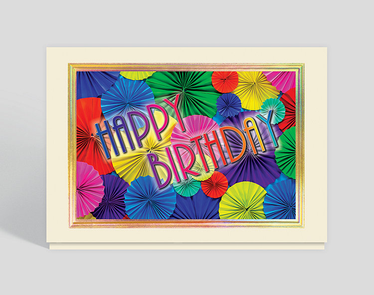 Colorful Fans Birthday Card