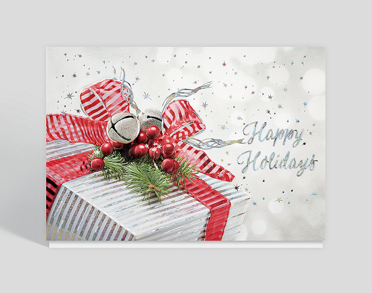 Silvery Gift Holiday Card – Greeting Cards