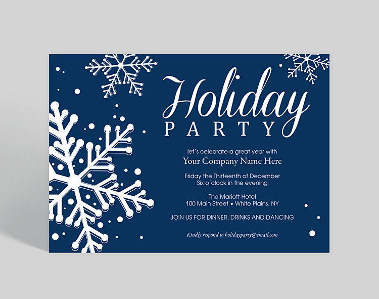 Blue Snowflake Dazzle Holiday Party Invitation, 1023809 - Business  Christmas Cards