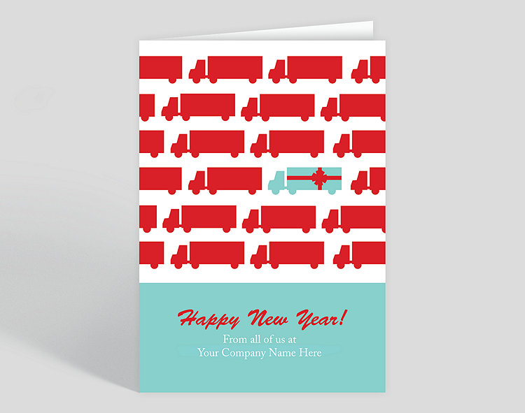 Gift Truck New Year's Card - Trucking Christmas Cards