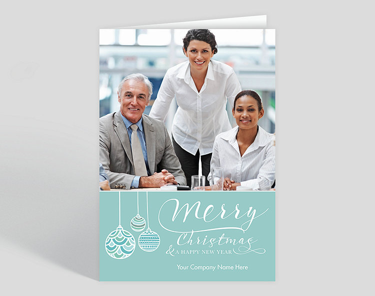 Turquoise Trio Christmas Card - Greeting Cards