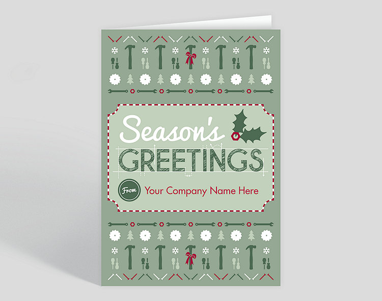Construction pattern christmas card 1025555 business christmas cards construction pattern christmas card click to view larger reheart Image collections