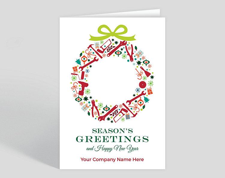 Company Christmas Cards.Tool Wreath Christmas Card 1025556 Business Christmas Cards