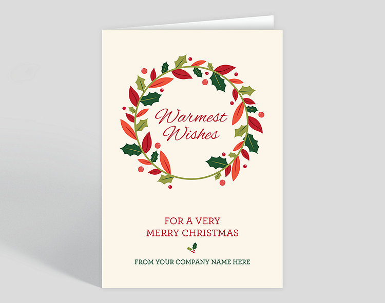 Warm wishes wreath christmas card 1027993 business christmas cards warm wishes wreath christmas card click to view larger m4hsunfo