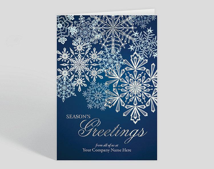 Enhanced Cascading Flakes Christmas Card 1028063 Business