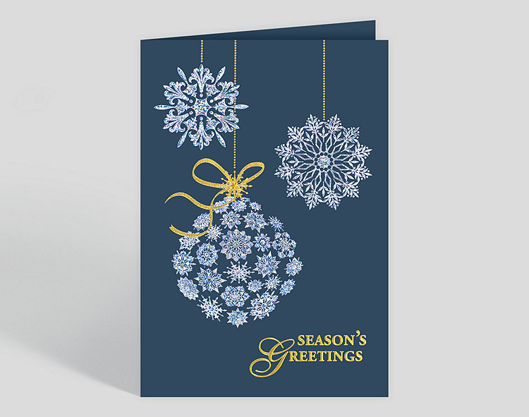 Personalized christmas cards custom christmas cards shimmering snowflake trio holiday card m4hsunfo