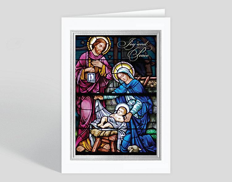 joy and peace nativity christmas card click to view larger - Nativity Christmas Cards