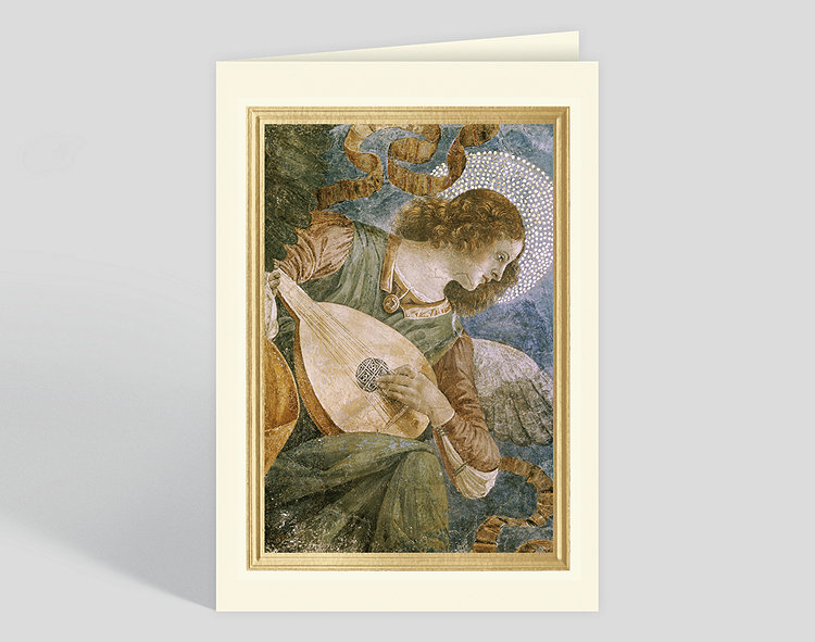 Music making angel with lute c 1480 christmas card 300896 click to view larger reheart Image collections