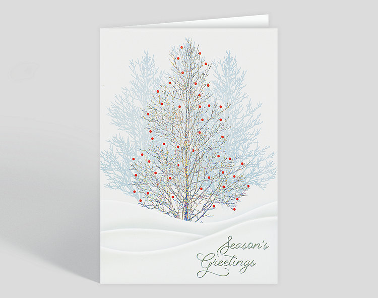 The Gallery Collection Christmas Cards.Winterberry Tree Holiday Card 303747 Business Christmas Cards