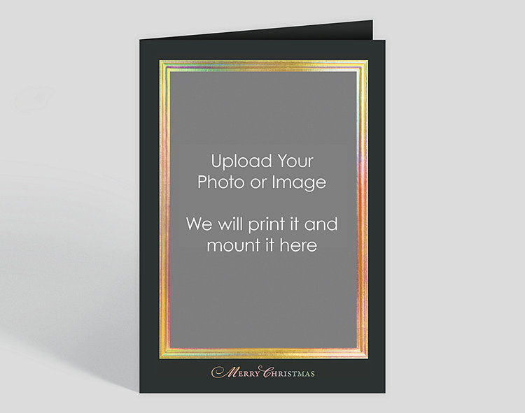 Gold prismatic border on black merry christmas custom photo mount click to view larger reheart Choice Image