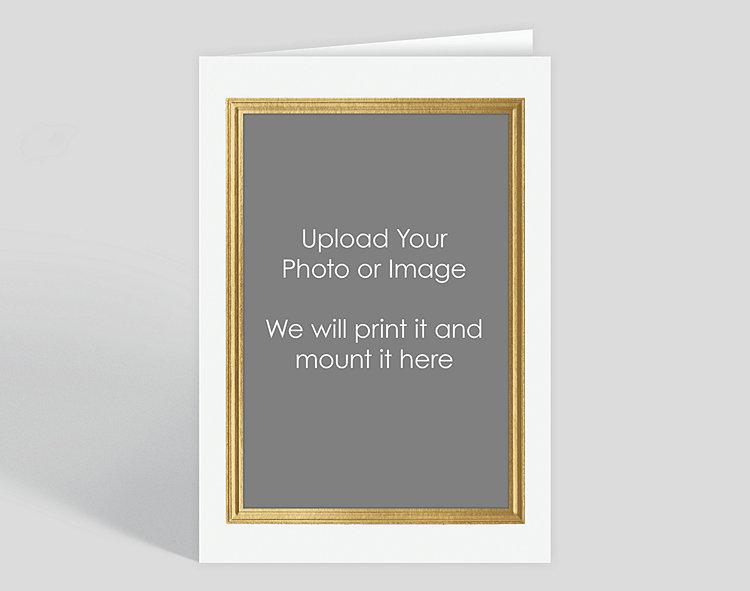 Gold Border on White Custom Photo Mount Card - Vertical AO , 304014 ...