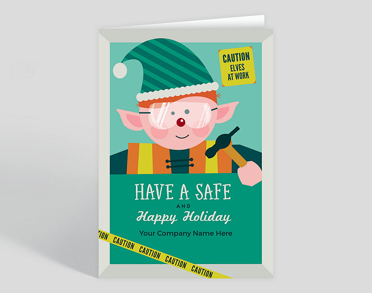 Elves at Work Holiday Card – Greeting Cards