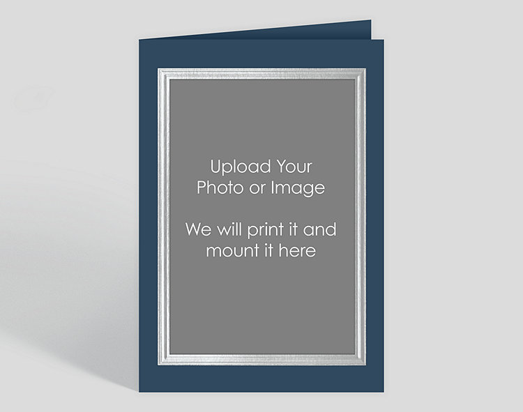Silver Border on Blue Custom Photo Mount Card – Vertical AO – Greeting Cards