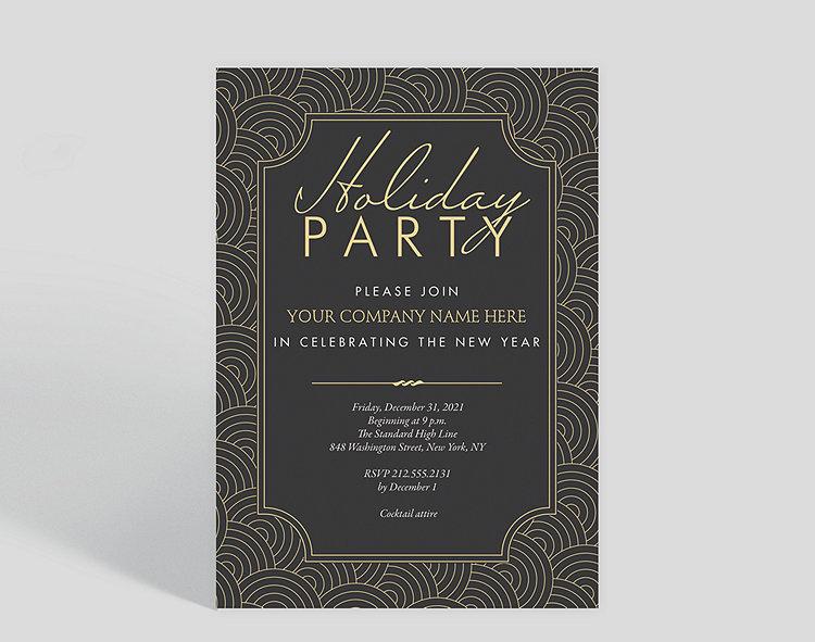 deco swirls holiday party invitation click to view larger