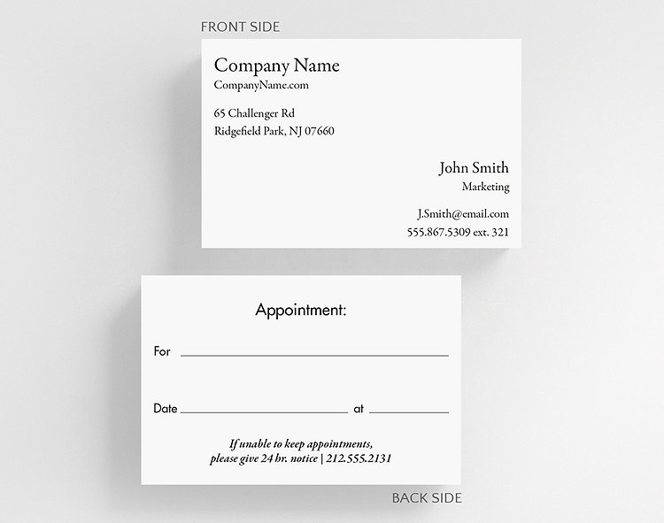 business basics appointment card h1 business card credit card size