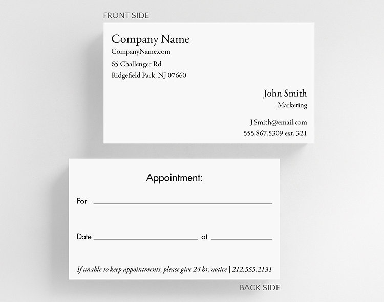 Business basics appointment card h1 business card standard size business card standard size click to view larger colourmoves