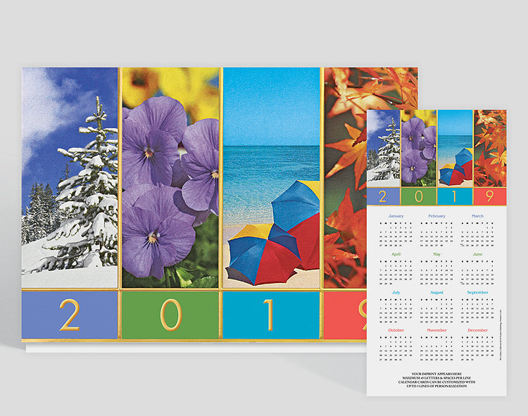 Get a sneak peek into the year with this great calendar card, featuring imagery to match each season: a snow covered tree, pretty flowers, the beach, and changing leaves. Mounted on white matte card stock, gold foil is stamped throughout to make for perfect borders and give a touch of shine! Up to 5 lines of content can be customized along the bottom.