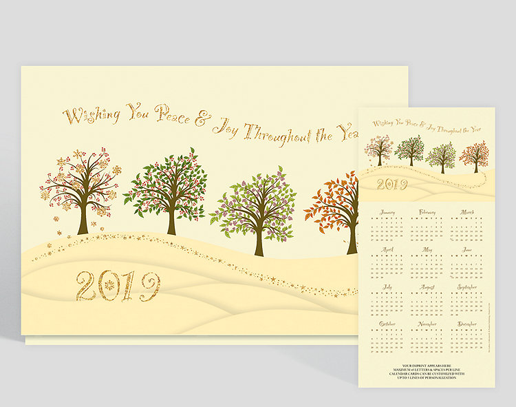 Ring in the New Year with this calendar card. Printed on white matte card stock, sandy hues take over to create this seasonal design with four trees in a row, each with foliage to represent winter, spring, summer, and fall. This card has great pops of color and is stamped with gold refractive foil. Up to 5 lines of content can be added at the bottom.
