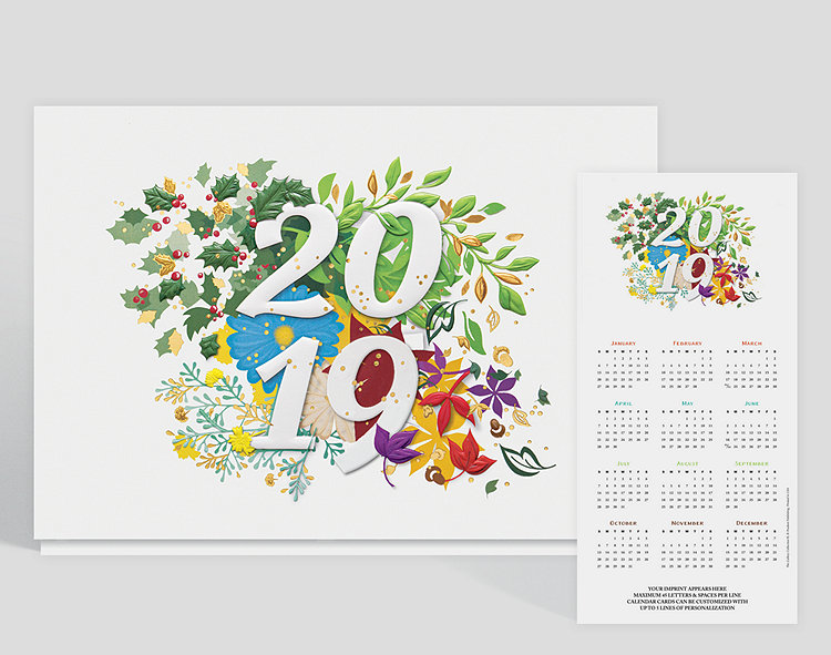 Leaves, flowers and holly float in a happy hodgepodge of beautifully displayed colors. This delightful calendar card, with its gaily dancing green, red, purple, yellow and blue hues, suggests that the seasons flow easily from one to the next. Up to 5 lines of content can be customized along the bottom, keeping your company name in mind throughout the year.
