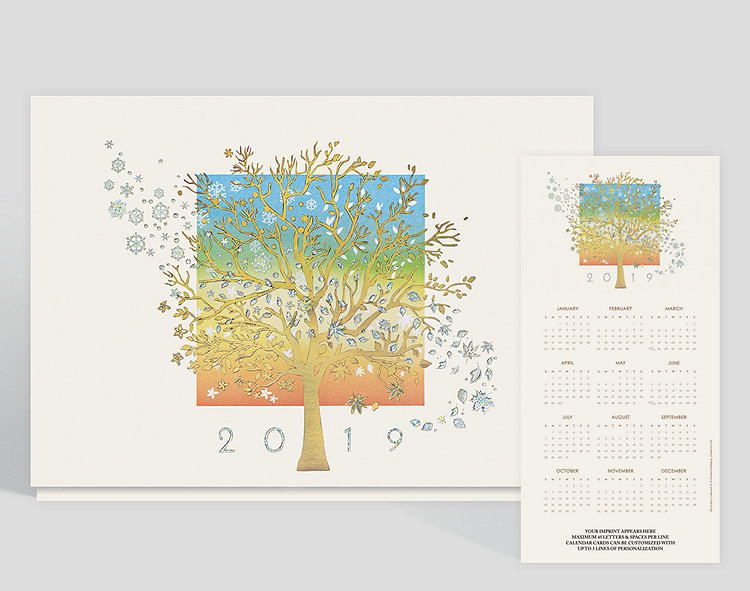 Watching the seasons change is beautiful and this card allows you to see that all year long. There is a big tree in the center with foil snowflakes and leaves falling from above. The year is also printed along the front in silver foil.