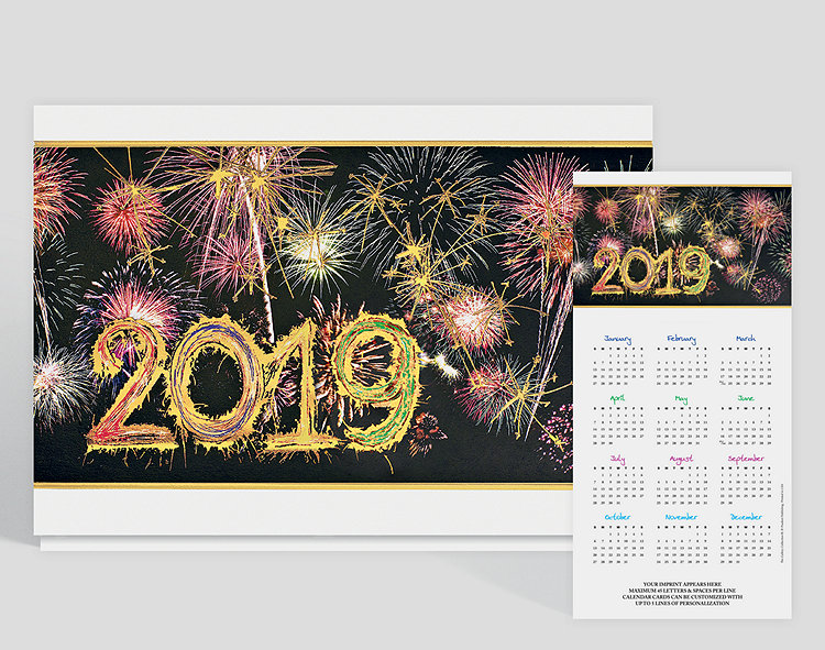 Whether it is the New Year or the Fourth of July, fireworks are fun to watch! This z-fold calendar card is printed in gold prismatic foil that make the fireworks shine with a slight rainbow effect. The current year is on the front of this card, big and bold.