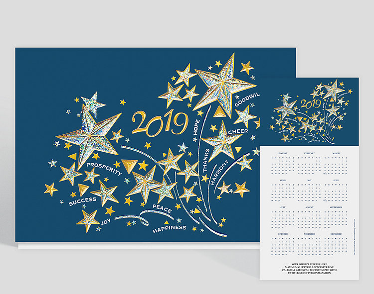 2019 stars and good wishes calendar card 305147 business click to view larger reheart Choice Image