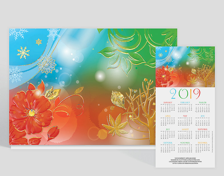 Enjoy the changes of the seasons with this beautiful calendar card. Snowflakes, flowers, and leaves are embossed in gold foil throughout. There's room for 5 lines of custom text at the bottom of the calendar.