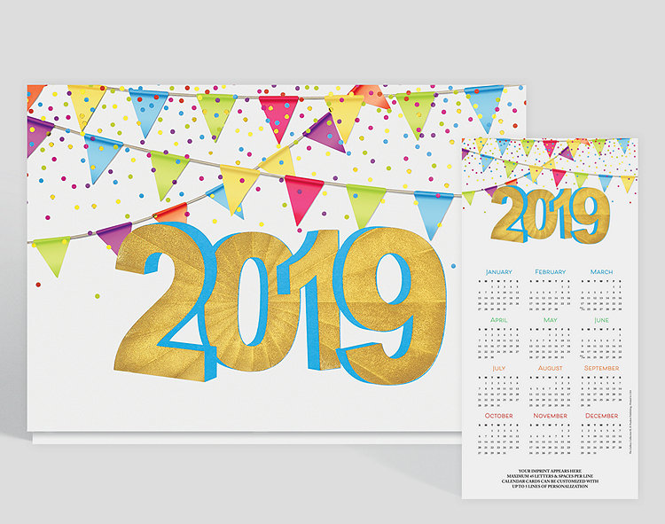 Mark your calendar! It's a year to be festive and have fun! This calendar card is embossed with gold foil. Pennants hang from above as confetti falls in the air. Up to 5 lines of custom text can be added to the bottom of this card.