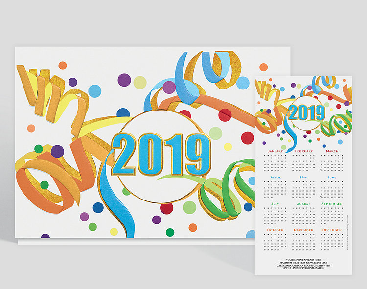 This year is going to be one to remember. In the center of this calendar card is the year, outlined and embossed with gold foil with a blue center. Confetti and streamers add to the excitement! There's room for 5 lines of custom text or logos beneath the calendar dates.