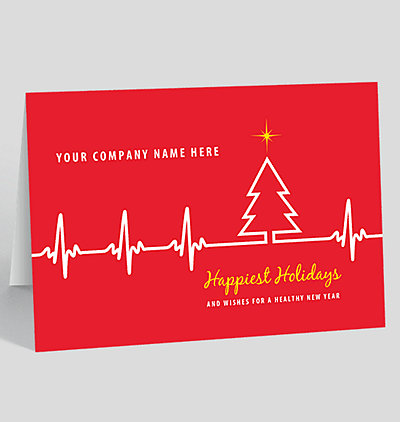 ekg tree holiday card