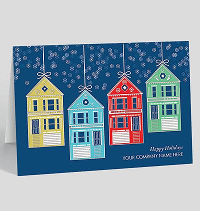 house ornaments christmas card - Realtor Christmas Cards