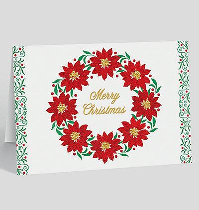 Poinsettia Wreath Christmas Card
