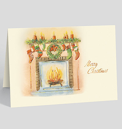 Fireside Greetings Merry Christmas Card