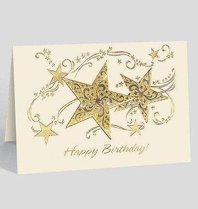 Happy Birthday Glittering Star Card