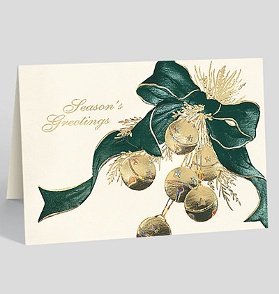 Golden Sleigh Bells Holiday Card