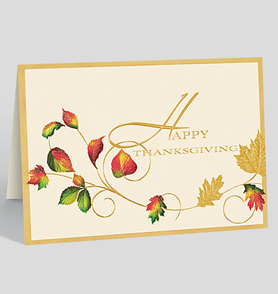 Gold Thanksgiving Wishes Card