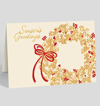 Floral greetings holiday card 1027722 business christmas cards seasons greetings berry wreath card m4hsunfo