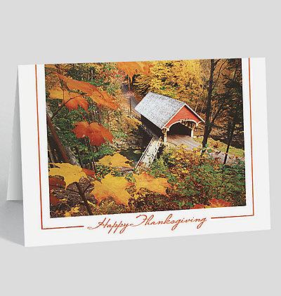 Covered Bridge Thanksgiving Card